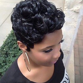 Human Hair Capless Wigs Human Hair Curly / Afro Short Hairstyles 2019 Halle Berry Hairstyles African American Wig / For Black Women Black Short Machine Made Wi
