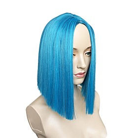 Synthetic Wig Straight Straight Layered Haircut Wig Short Blue Synthetic Hair Women's Side Part Blue