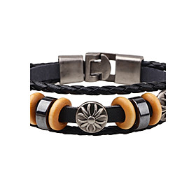 Men's Leather Bracelet woven Vintage Punk Leather Bracelet Jewelry Black / Coffee For Daily Casual