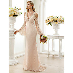 Sheath / Column Wedding Dresses Plunging Neck Sweep / Brush Train Sheer Lace Long Sleeve Wedding Dress in Color Open Back Floral Lace with Bow(s) Crystals 2020