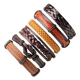 Men's Women's Wrap Bracelet Leather Bracelet woven Bohemian Fashion Leather Bracelet Jewelry Coffee For Gift Going out