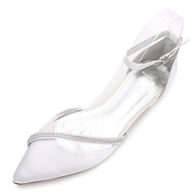 Women's Wedding Shoes Glitter Crystal Sequined Jeweled Plus Size Flat Heel Pointed Toe Basic Wedding Daily Party  Evening Rhinestone Solid Colored Satin Summer