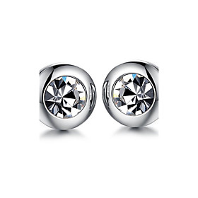 Men's AAA Cubic Zirconia Stud Earrings Round Cut Rock Fashion Titanium Steel Earrings Jewelry Silver For Wedding Daily Casual Masquerade Engagement Party Prom