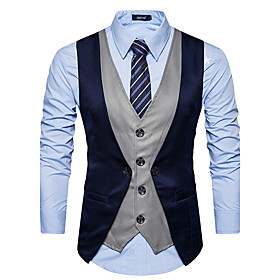 Men's V Neck Vest Regular Color Block Daily Fall Winter Black  Gray Sleeveless Black / Red / Dark Gray S / M / L / Slim