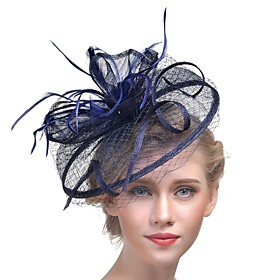 Women's Kentucky Derby Hat Mesh Fashion Acrylic Feather Party - Solid Colored