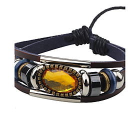 Men's Women's AAA Cubic Zirconia Leather Bracelet Luxury Vintage Leather Bracelet Jewelry Coffee For Casual Going out