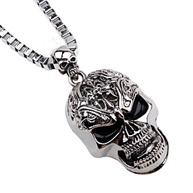 Men's Pendant Necklace Chain Necklace Mexican Sugar Skull Skull Punk Satanic Metal Alloy Silver Necklace Jewelry For Halloween Stage Cosplay Costumes