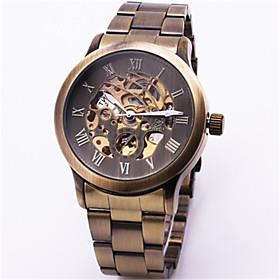 Men's Skeleton Watch Mechanical Watch Automatic self-winding Vintage Water Resistant / Waterproof Analog Bronze / Hollow Engraving