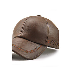 Men's Active Holiday Waterproof PU Baseball Cap Sun Hat-Solid Colored Embroidered Brown Black