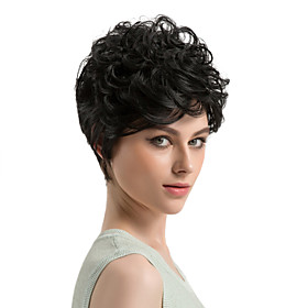 Synthetic Wig Curly Curly Wig Short Black#1B Synthetic Hair Women's African American Wig Black MAYSU