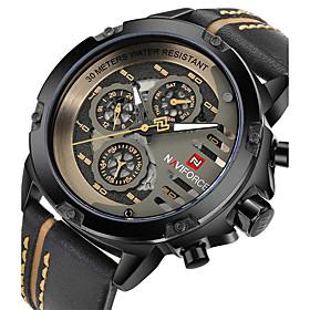 Men's Skeleton Watch Military Watch Quartz Charm Casual Watch Analog White Red Khaki / Stainless Steel / Genuine Leather / Genuine Leather