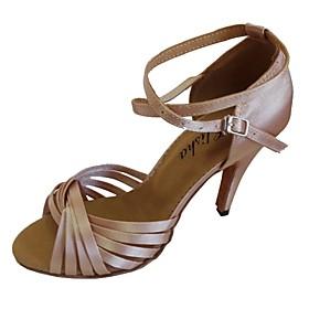 Women's Latin Shoes Sandal Customized Heel Satin Navy / Almond / White / Indoor