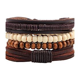 Men's Women's Bead Bracelet Leather Bracelet Rope woven Bohemian Wooden Bracelet Jewelry Coffee For Casual Going out