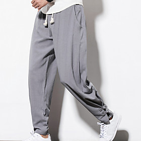 Men's Vintage / Casual / Active Plus Size Daily Weekend Loose Skinny / Loose / wfh Sweatpants Pants - Solid Colored Linen Navy Blue Wine Light gray XXXL XXXXL