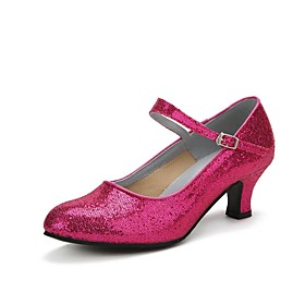 Women's Dance Shoes Modern Shoes / Ballroom Shoes / Line Dance Heel Sparkling Glitter / Buckle Cuban Heel Black / Red / Fuchsia / Professional / EU41