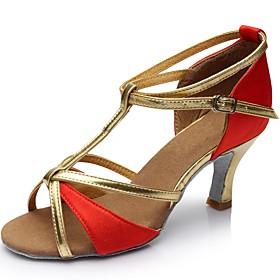 Women's Dance Shoes Latin Shoes / Ballroom Shoes / Line Dance Sandal Customized Heel Customizable Black / Red / Gold / Indoor / Silk / Leather / EU40