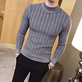 Men's Basic Stripe Solid Colored Pullover Long Sleeve Slim Regular Sweater Cardigans Crew Neck Fall Winter White Black Red