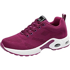 Women's Trainers / Athletic Shoes Comfort Shoes Sporty Daily Going out Outdoor Solid Colored Knit Running Shoes / Walking Shoes Black / Purple / Red