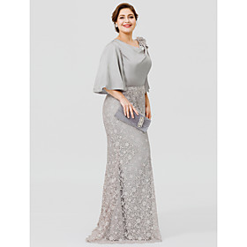 Mermaid / Trumpet Cowl Neck Sweep / Brush Train Satin Chiffon / Lace Over Satin Half Sleeve Sexy / Plus Size Mother of the Bride Dress with Appliques Mother's