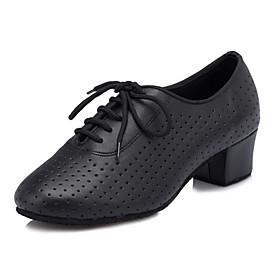 Women's Dance Shoes Latin Shoes / Ballroom Shoes / Line Dance Criss-Cross Chunky Heel Customizable Black / Performance