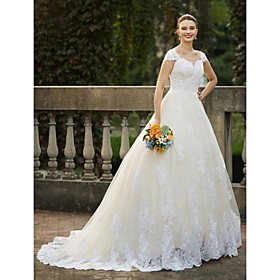Ball Gown Wedding Dresses Square Neck Cathedral Train Lace Over Tulle Cap Sleeve Vintage Sparkle  Shine with Beading Appliques 2020
