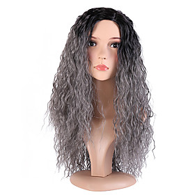 Synthetic Wig Deep Wave Deep Wave Wig Pink Long Black / Grey Synthetic Hair Women's Ombre Hair Dark Roots Side Part Pink