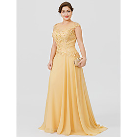 A-Line Mother of the Bride Dress Plus Size Lace Chiffon Elegant Short Sleeve Round Neck Sweep / Brush Train with Appliques Mother of the gr
