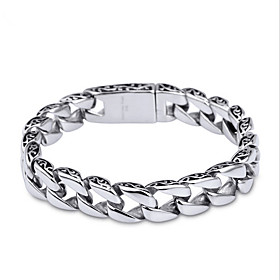 Men's Chain Bracelet Unique Design Simple Style Fashion Stainless Steel Bracelet Jewelry Silver For Christmas Gifts Daily Casual