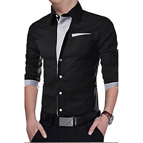 Men's Solid Colored Slim Shirt Casual Daily White / Black / Red / Royal Blue / Navy Blue / Spring / Fall / Long Sleeve