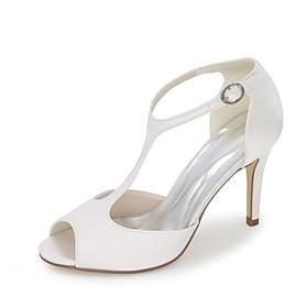 Women's Wedding Shoes Stiletto Heel Peep Toe Satin Basic Pump Spring / Summer Blue / Champagne / Ivory / Party  Evening