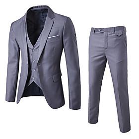 Men's Work Regular Suits, Solid Colored Shirt Collar Long Sleeve Cotton / Polyester Wine / Light Blue / Royal Blue / Slim