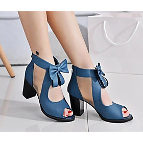 Women's Sandals Bowknot Nubuck leather Basic Pump Spring / Fall Black / Blue / EU39