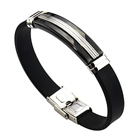 Men's Women's Link Bracelet Classic Leather Bracelet Jewelry Black For Daily / Steel Stainless