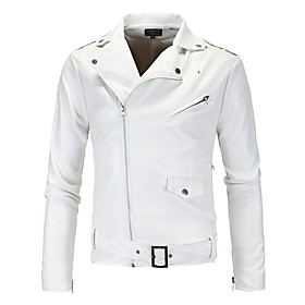 Men's V Neck Fall Faux Leather Jacket Short Solid Colored Daily Streetwear Long Sleeve White M L XL / Winter / Punk  Gothic / Slim