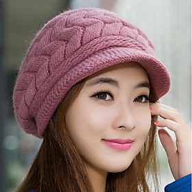 Women's Bucket Hat Baseball Cap Cute Rabbit Fur Cotton Blend Party Work - Solid Colored Knitted Fall Winter White Black Purple