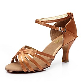 Women's Dance Shoes Latin Shoes / Ballroom Shoes / Line Dance Sandal Customized Heel Customizable Nude / Black / Brown / Indoor / Silk / Leather