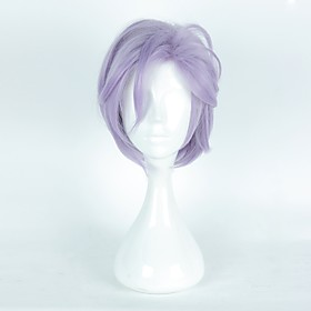 Cosplay Costume Wig Synthetic Wig Cosplay Wig Straight Layered Haircut Asymmetrical With Bangs Wig Short Purple / Blue Synthetic Hair Women's Natural Hairline
