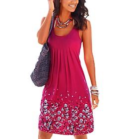 Women's Loose Dress - Sleeveless Floral Print Spring  Summer Street chic Daily Holiday 2020 Black Blue Purple Yellow Fuchsia Gray S M L XL
