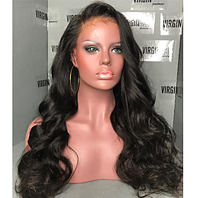 Human Hair 360 Frontal Wig Side Part style Brazilian Hair Natural Wave Wig 180% Density with Baby Hair Natural Hairline Women's Long Human Hair Lace Wig ELVA H