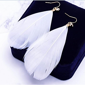 Women's Drop Earrings Leaf Feather Ladies Bohemian Boho Oversized Feather Earrings Jewelry White / Blue / Pink For Daily Street