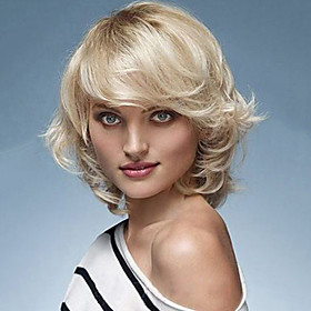 Human Hair Wig Medium Length Natural Wave Natural Wave Ombre Hair Machine Made Women's Black#1B Beige Blonde / Bleached Blonde Chestnut Brown / Bleach Blonde 1