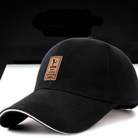Men's Baseball Cap Cotton Solid Colored Stylish Spring, Fall, Winter, Summer Black
