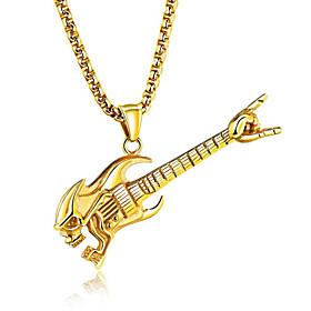 Men's Pendant Necklace Music Guitar Fashion Hip-Hop Titanium Steel Gold Silver Necklace Jewelry For Club Bar