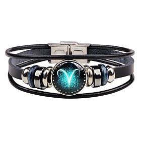 Men's Leather Bracelet Bracelet Zodiac Rock Hip-Hop Stainless Steel Bracelet Jewelry For Date Bar