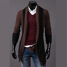 Men's Active Color Block Cardigan Long Sleeve Regular Sweater Cardigans Cowl Neck Fall Winter Dark Gray Brown