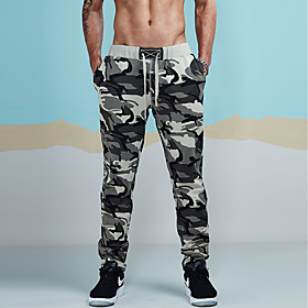 Hiking Pants Men's Active / Basic / Military Sports Casual / Daily wfh Sweatpants Pants - Camo / Camouflage Ruched Gray L XL XXL