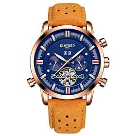 Men's Casual Watch Fashion Watch Skeleton Watch Automatic self-winding Luxury Water Resistant / Waterproof Analog Black / Blue White Black / Two Years / Stainl
