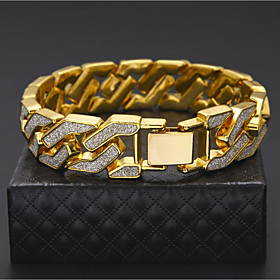 Men's Chain Bracelet Cuban Link Two tone cuff Luxury Rock Hip-Hop Street chic Dubai Gold Plated Bracelet Jewelry Gold / Silver For Casual Club