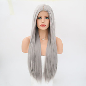 Synthetic Lace Front Wig Straight Straight Lace Front Wig Long Grey Synthetic Hair Women's Gray