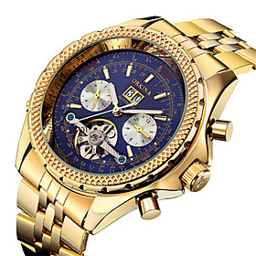 Men's Skeleton Watch Military Watch Mechanical Watch Automatic self-winding Luxury Water Resistant / Waterproof Analog Gold / White Black / Rose Gold Black / T
